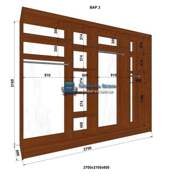 4-х дверный шкаф-купе MN 276-3 (270x60x210)