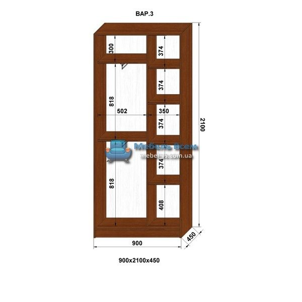 2-х дверный шкаф-купе MN 94-3 (90x45x210)
