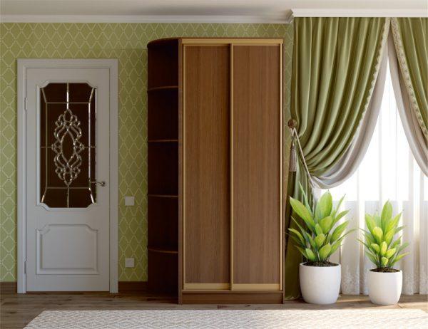 2-х дверный шкаф-купе MN фасад ДСП, профиль золото