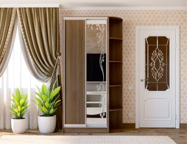 2-х дверный шкаф-купе MN зеркало с художественным матированием + дсп
