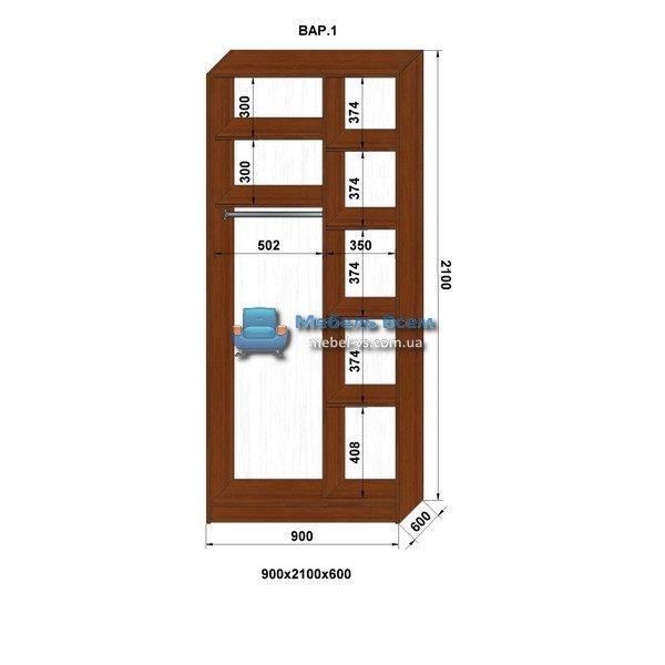 2-х дверный шкаф-купе MN 96-1 (90x60x210)