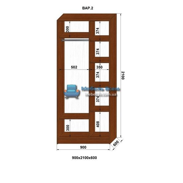 2-х дверный шкаф-купе MN 96-2 (90x60x210)
