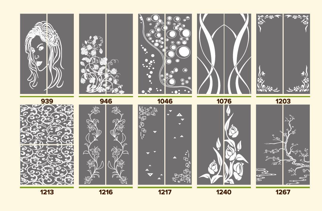Варианты пескоструйных узоров для шкафов купе MN