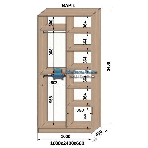 2-х дверный шкаф-купе MN 106-3 (100x60x240)