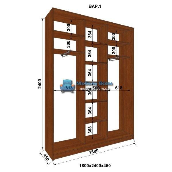3-х дверный шкаф-купе MN 184-1 (180x45x240)