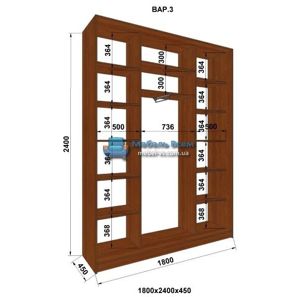3-х дверный шкаф-купе MN 184-3 (180x45x240)