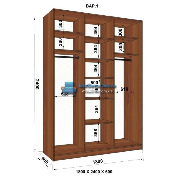 3-х дверный шкаф-купе MN 186-1 (180x60x240)
