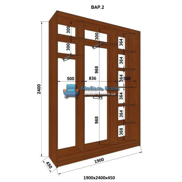3-х дверный шкаф-купе MN 194-2 (190x45x240)