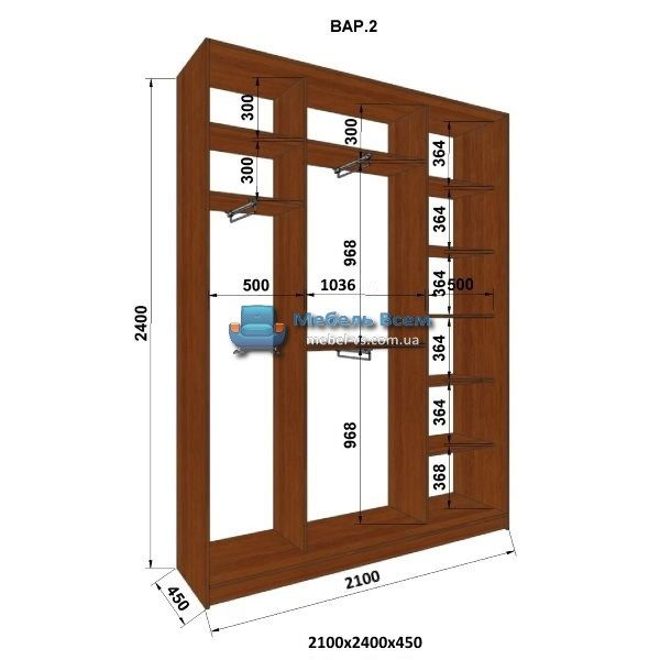 3-х дверный шкаф-купе MN 214-2 (210x45x240)