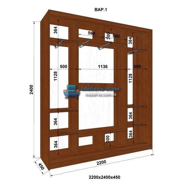 3-х дверный шкаф-купе MN 224-1 (220x45x240)