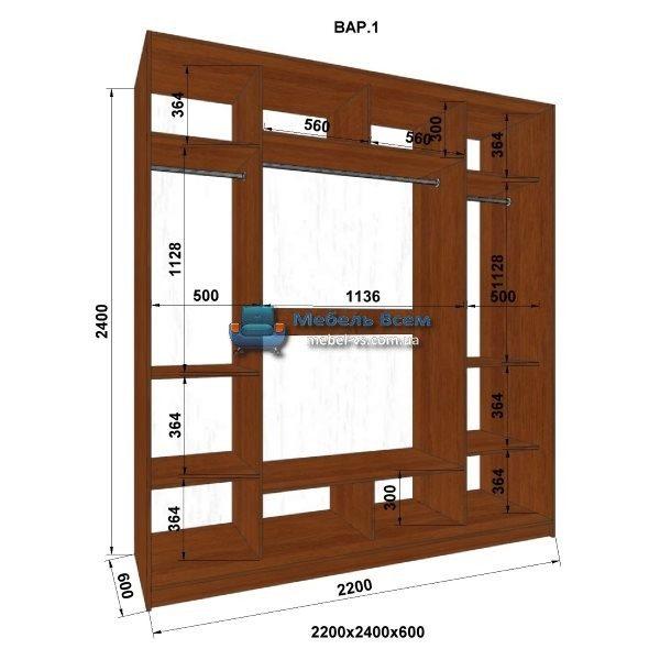3-х дверный шкаф-купе MN 226-1 (220x60x240)