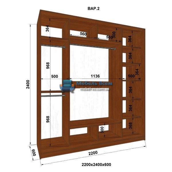 3-х дверный шкаф-купе MN 226-2 (220x60x240)