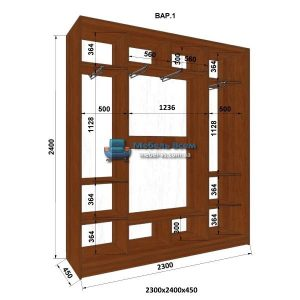 3-х дверный шкаф-купе MN 234-1 (230x45x240)