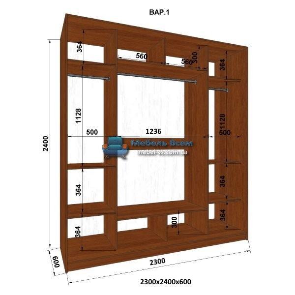 3-х дверный шкаф-купе MN 236-1 (230x60x240)
