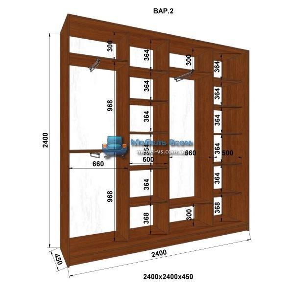 4-х дверный шкаф-купе MN 244-2 (240x45x240)