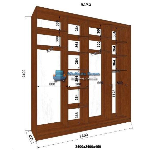 4-х дверный шкаф-купе MN 244-3 (240x45x240)