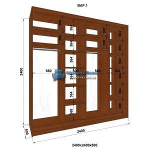 4-х дверный шкаф-купе MN 246-1 (240x60x240)