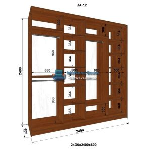 4-х дверный шкаф-купе MN 246-2 (240x60x240)