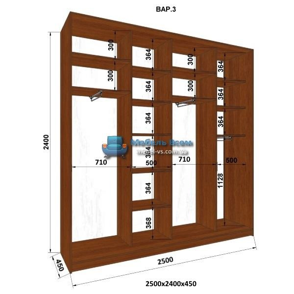 4-х дверный шкаф-купе MN 254-3 (250x45x240)