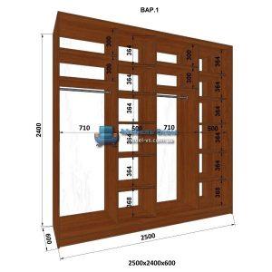 4-х дверный шкаф-купе MN 256-1 (250x60x240)