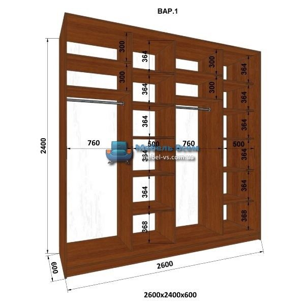 4-х дверный шкаф-купе MN 266-1 (260x60x240)