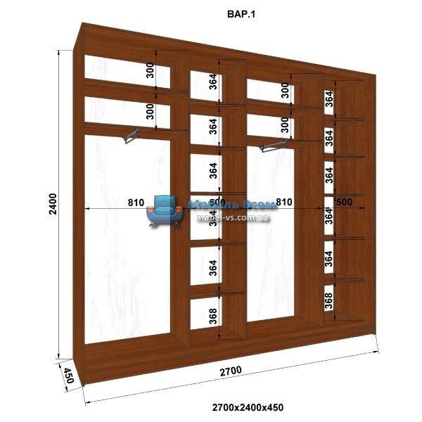 4-х дверный шкаф-купе MN 274-1 (270x45x240)