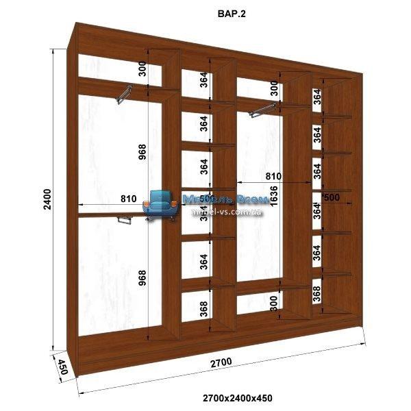 4-х дверный шкаф-купе MN 274-2 (270x45x240)