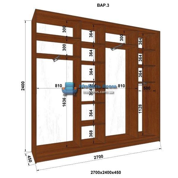 4-х дверный шкаф-купе MN 274-3 (270x45x240)