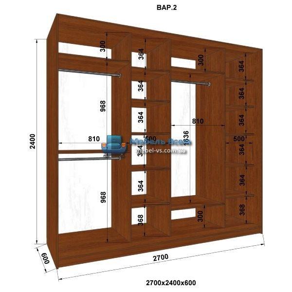 4-х дверный шкаф-купе MN 276-2 (270x60x240)