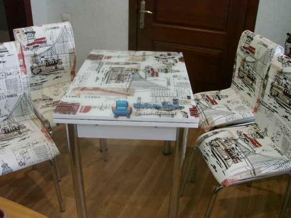 Стол + 4 стула Лотос SK CB-133 60x90-150 фото