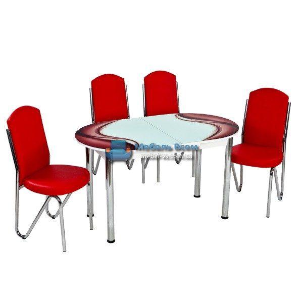 Стол + 4 стула Лотос NK ELIPS-010 75x130-160