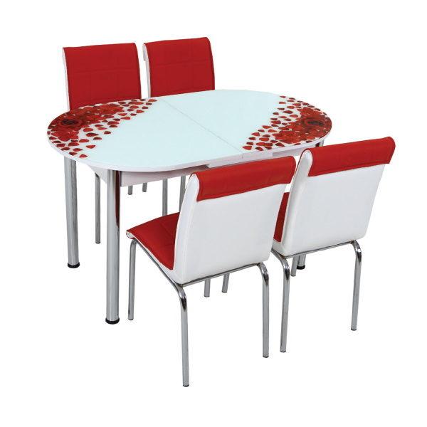 Стол + 4 стула Лотос SK OVAL-003 75x130-160