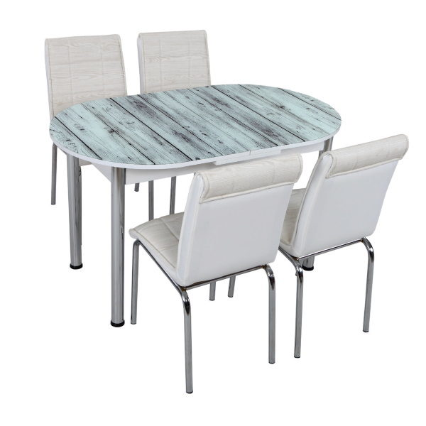 Стол + 4 стула Лотос SK OVAL-007 75x130-160