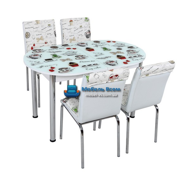 Стол + 4 стула Лотос SK OVAL-008 75x130-160