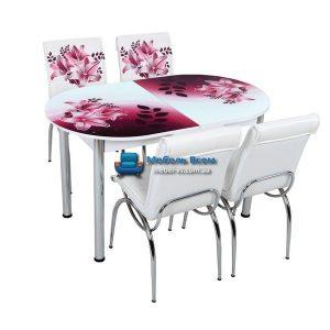 Стол + 4 стула Лотос SK OVAL-012 75x130-160