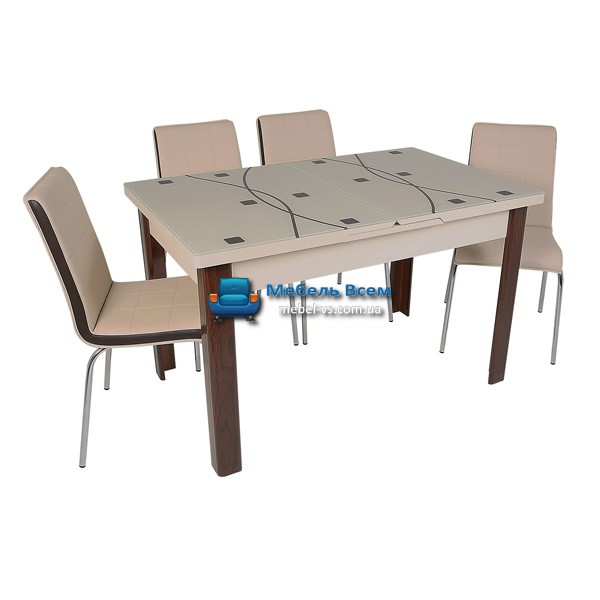 Стол + 4 стула Hamza Takim HT-241-8 80х130-165
