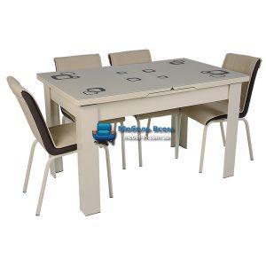 Стол + 4 стула Hamza Takim HT-334-17 80х130-165