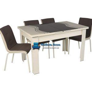 Стол + 4 стула Hamza Takim HT-334-3 80х130-165
