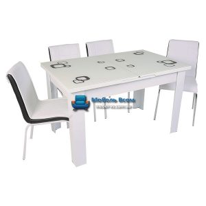 Стол + 4 стула Hamza Takim HT-334-6 80х130-165