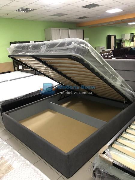 Двухспальная мягкая кровать с подъёмным механизмом МК Лайн Фото