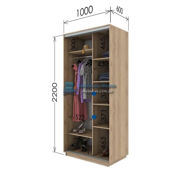 Двухдверный шкаф купе G-106-220 (100x60x220)