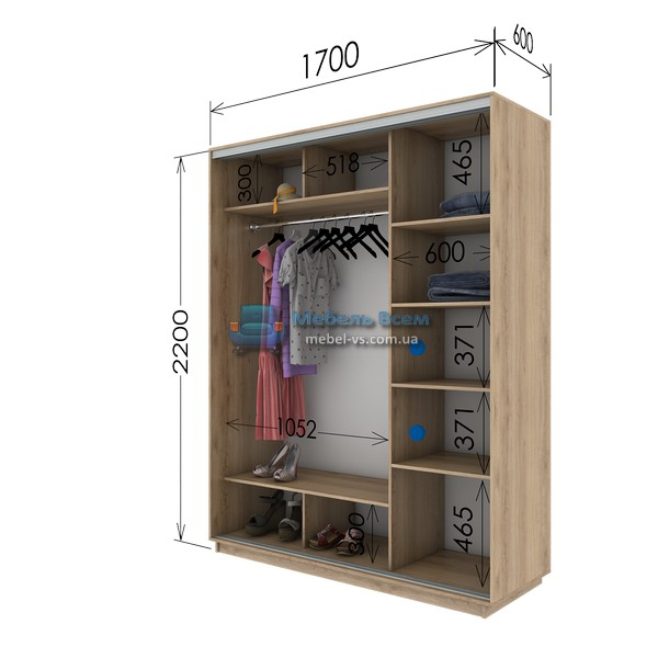 Двухдверный шкаф купе G-176-220 (170x60x220)