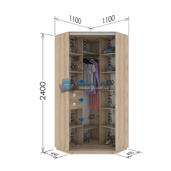 Двухдверный угловой шкаф купе GU-114-240 (110x45x240)