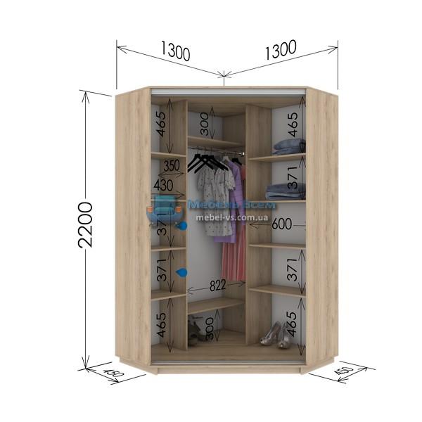 Двухдверный угловой шкаф купе GU-134-220 (130x45x220)