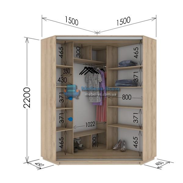 Двухдверный угловой шкаф купе GU-154-220 (150x45x220)