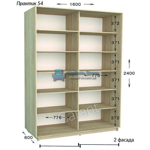 Двухдверный шкаф купе Практик 54 (160×45/60×220/240)