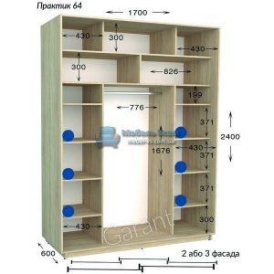 Трёхдверный шкаф купе Практик 64/3 (170×45/60×220/240)