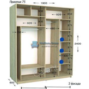 Двухдверный шкаф купе Практик 75 (190×45/60×220/240)