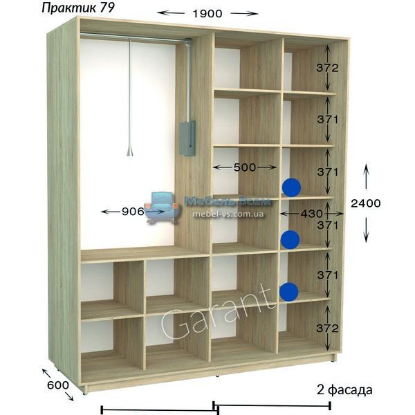 Двухдверный шкаф купе Практик 79 (190×45/60×220/240)