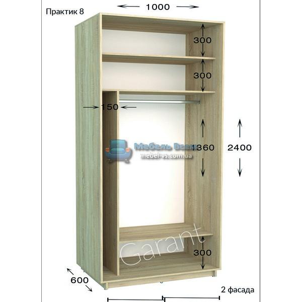 Двухдверный шкаф купе Практик 8 (100x45/60x220/240)